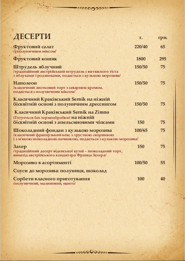 Меню десерты Краков