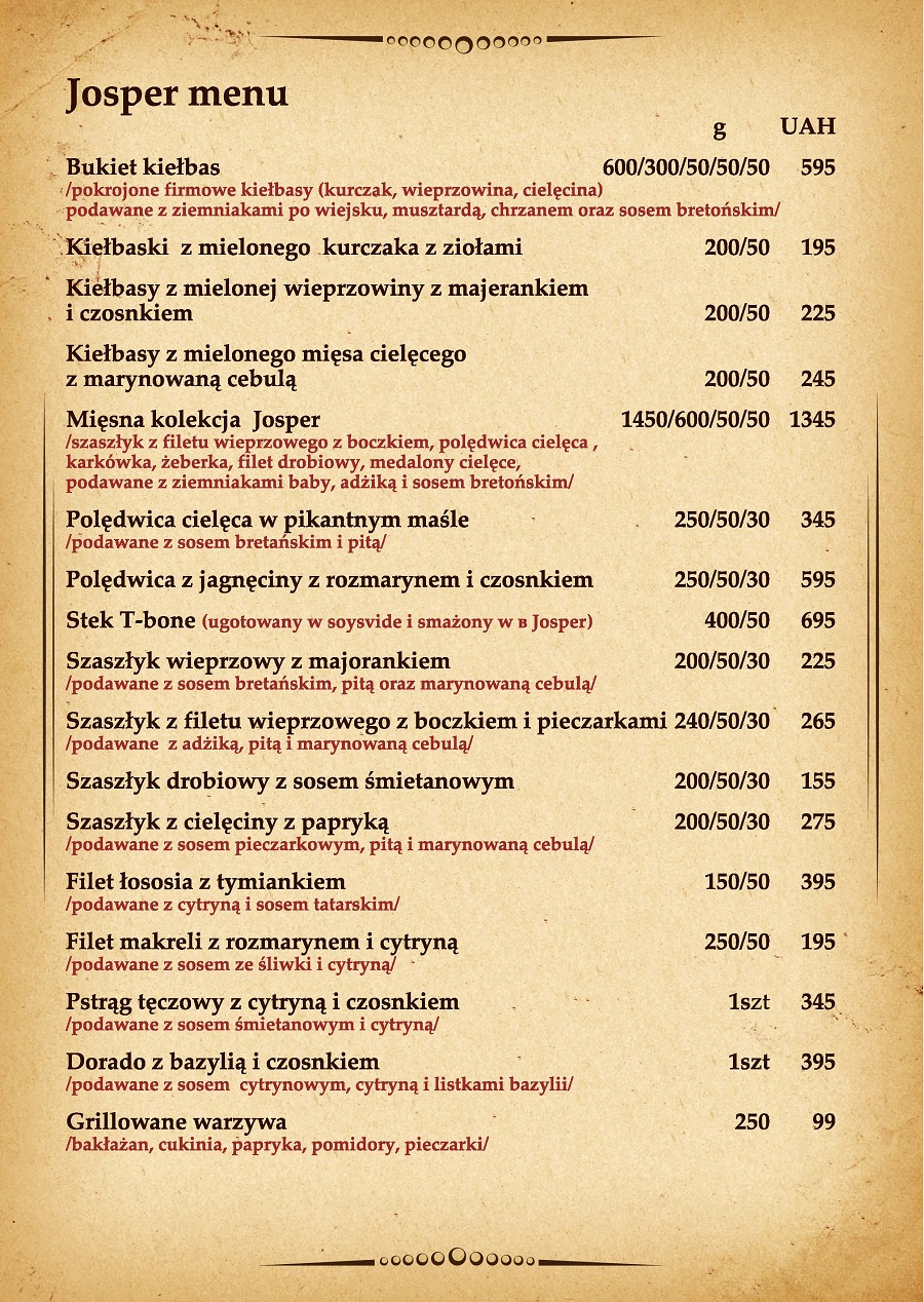 Josper menu