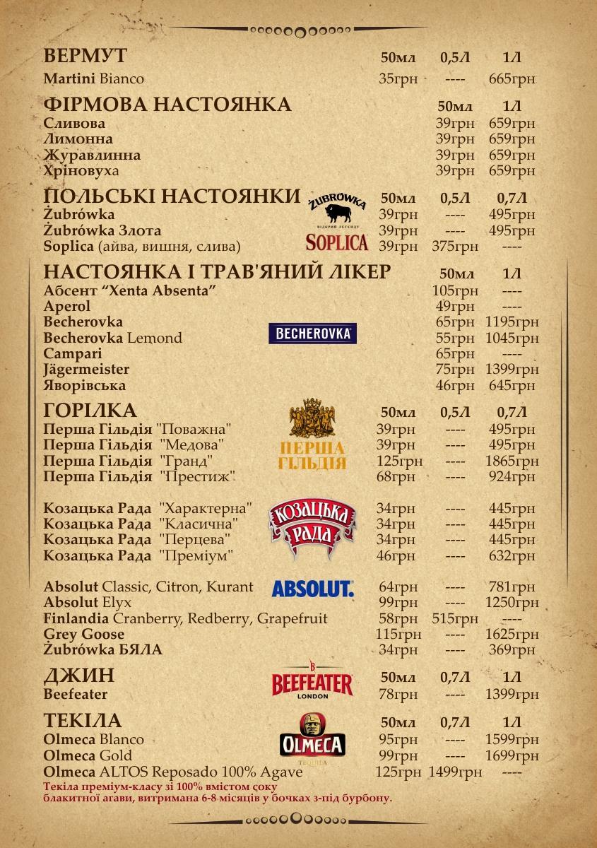 барне меню