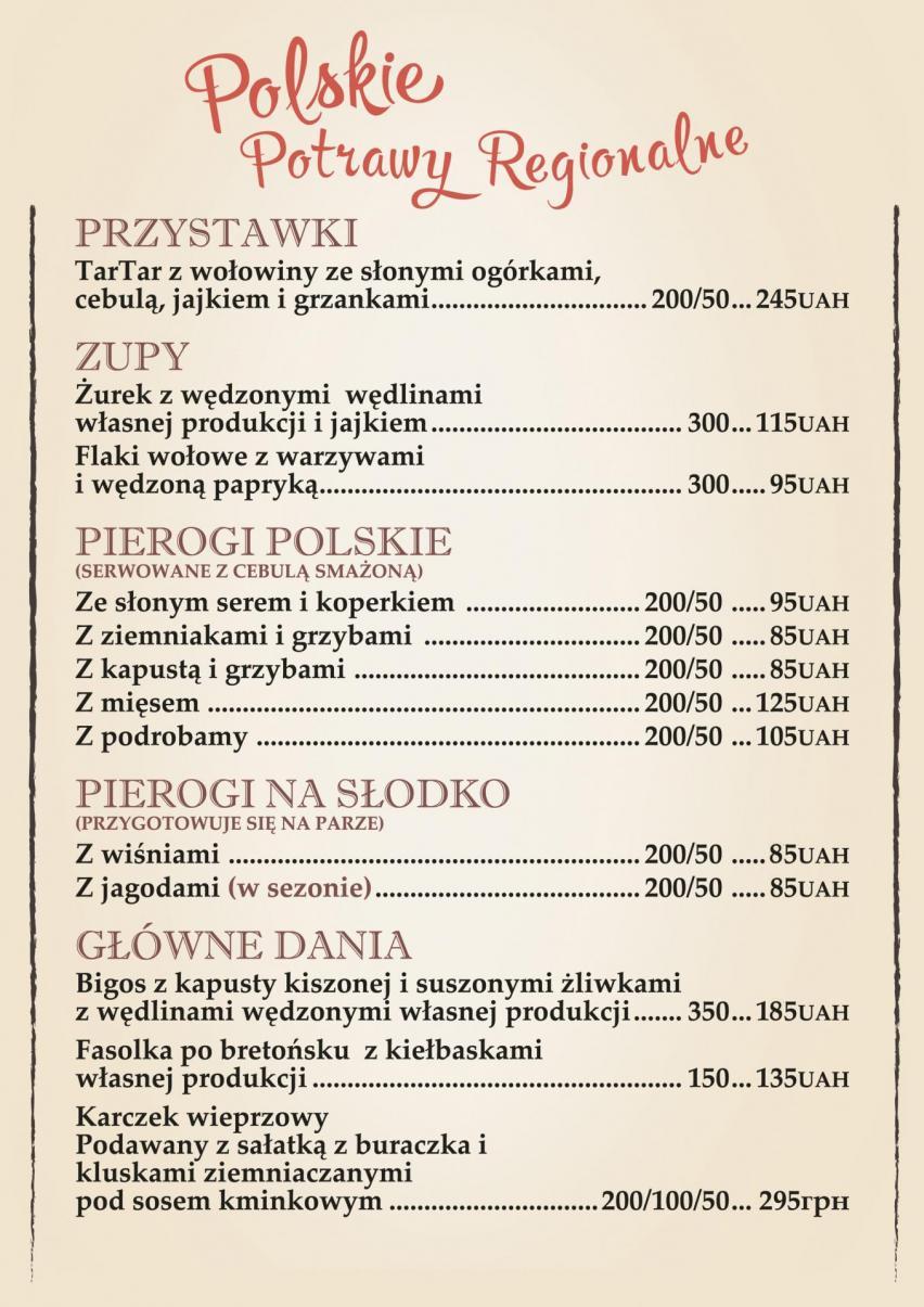 Dania kuchni polskiej w restauracji w Kijowie
